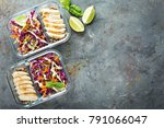 healthy meal prep containers... | Shutterstock . vector #791066047