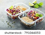 healthy meal prep containers... | Shutterstock . vector #791066053