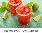 frozen strawberry lime basil...   Shutterstock . vector #791068543