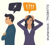 angry couple fight  parents... | Shutterstock .eps vector #791084773