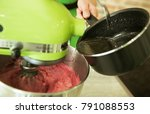 the confectioner pours hot... | Shutterstock . vector #791088553