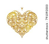 ornate vector heart in... | Shutterstock .eps vector #791092003