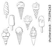 vector set of line drawing ice... | Shutterstock .eps vector #791096263