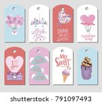 set of cute stickers with... | Shutterstock .eps vector #791097493