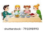 happy family eating dinner... | Shutterstock .eps vector #791098993