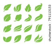 leaves icon set | Shutterstock .eps vector #791113153