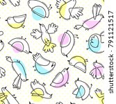 seamless pattern with abstract... | Shutterstock .eps vector #791121517