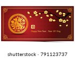 chinese new year 2018 card is... | Shutterstock .eps vector #791123737