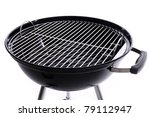 A picture of a new black barbecue over white background - stock photo