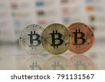 close up of bitcoins  gold... | Shutterstock . vector #791131567