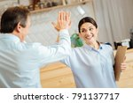 give me five. joyful satisfied... | Shutterstock . vector #791137717