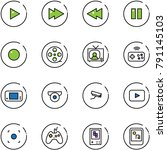 line vector icon set   play... | Shutterstock .eps vector #791145103