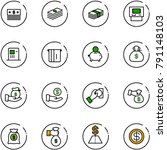 line vector icon set   dollar... | Shutterstock .eps vector #791148103