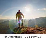 tourist with  forearm crutch...   Shutterstock . vector #791149423