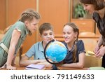 children with teacher at school ... | Shutterstock . vector #791149633