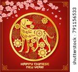 chinese new year zodiac dog... | Shutterstock .eps vector #791156533