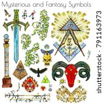 design set with colorful mystic ... | Shutterstock . vector #791163973