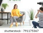 young beautiful model posing... | Shutterstock . vector #791175367