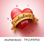 heart with happy valentines day ... | Shutterstock .eps vector #791195953
