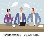 cartoon workers with laptops... | Shutterstock .eps vector #791214883