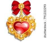 a beautiful medal in the shape... | Shutterstock .eps vector #791222293