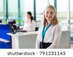 young ground staff smiling...   Shutterstock . vector #791231143