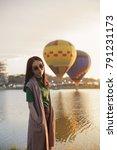 young women standing on top of...   Shutterstock . vector #791231173