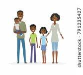 happy african family   cartoon... | Shutterstock .eps vector #791235427