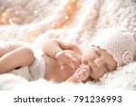 cute newborn baby girl lying on ... | Shutterstock . vector #791236993