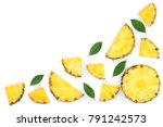 sliced pineapple with green... | Shutterstock . vector #791242573