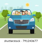 funny big family driving in suv ... | Shutterstock .eps vector #791243677