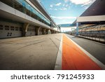 Small photo of ShangHai, 18 AUG 2017 China: racetrack pit stop empty background with grandstand