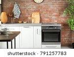 modern kitchen interior with...   Shutterstock . vector #791257783