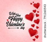 wish you a happy valentine's... | Shutterstock .eps vector #791260543