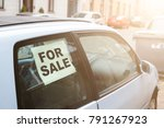 for sale. old dirty car on the... | Shutterstock . vector #791267923