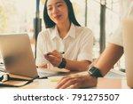 graphic or interior designer... | Shutterstock . vector #791275507