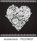 valentine heart. knitted... | Shutterstock .eps vector #791278027