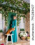 beautiful girl in long green... | Shutterstock . vector #791283427