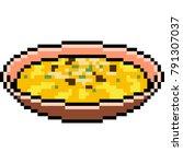 vector pixel art cream soup...   Shutterstock .eps vector #791307037