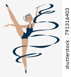 ballerina in a blue swimsuit....   Shutterstock .eps vector #791316403