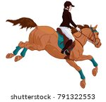 vector illustration of a jockey ... | Shutterstock .eps vector #791322553