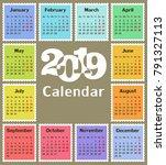 calendar for 2019. | Shutterstock .eps vector #791327113