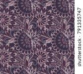 folkloric flowers seamless... | Shutterstock .eps vector #791335747