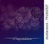 firework show on blue and... | Shutterstock .eps vector #791342527