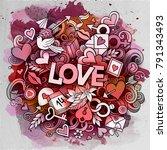 cartoon vector hand drawn... | Shutterstock .eps vector #791343493