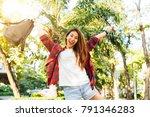 young traveler asian woman... | Shutterstock . vector #791346283