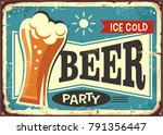 beer party retro pub sign | Shutterstock .eps vector #791356447