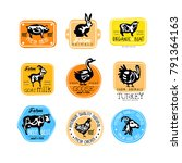 set of retro labels for dairy... | Shutterstock .eps vector #791364163