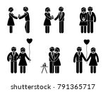 stick figure happy couple with... | Shutterstock . vector #791365717