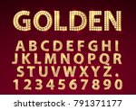 font lamp symbol  gold letter... | Shutterstock .eps vector #791371177